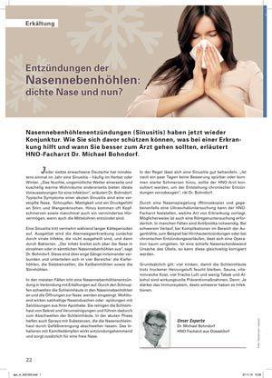 Nasennebenhöhlenentzündung Therapie Düsseldorf
