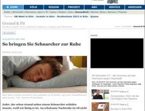 Kölner-Stadt-Anzeiger, 28.8.2015: So bringen Sie Schnarcher zur Ruhe